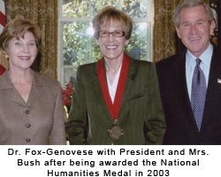 Dr. Fox-Genovese with President and Mrs. Bush